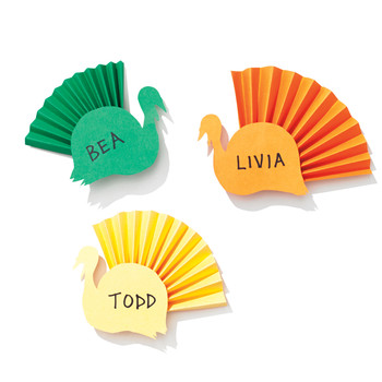 Colorful Paper Turkey Place Cards