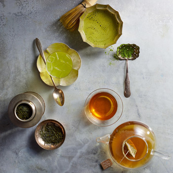 types of green tea view from above