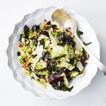 Raw Swiss Chard, Cabbage, and Brussels Sprout Salad