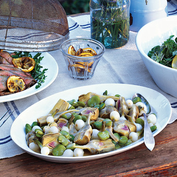 Braised Baby Artichokes with Fava Beans and Spring Onions