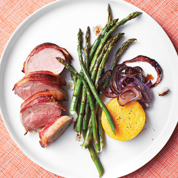 Bacon-Wrapped Pork Tenderloin with Broiled Polenta