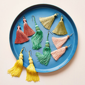 fringe earrings on plate
