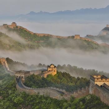 foggy Great Wall of China
