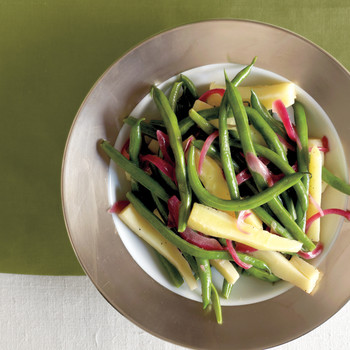Green Beans with Parsnips and Pickled Red Onions