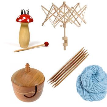 knitting supplies collage yarn needles