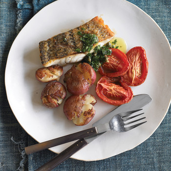 Seared Fish with Crispy Potatoes and Green Sauce