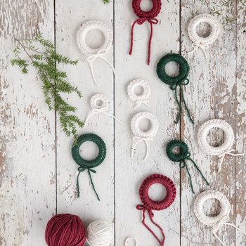 miniature crochet wreaths red green white