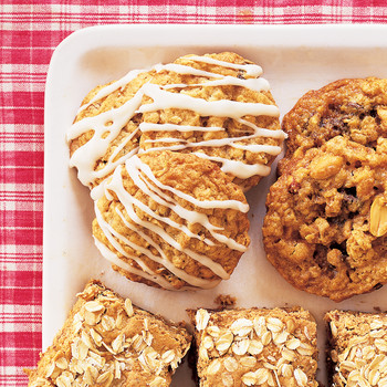 Iced Oatmeal Cookies With Golden Raisins And Applesauce