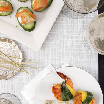 Gravlax on Cucumbers with Chive Yogurt