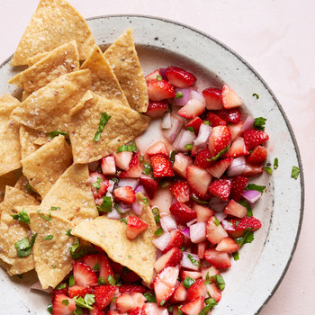 Strawberry salsa and tortilla chips