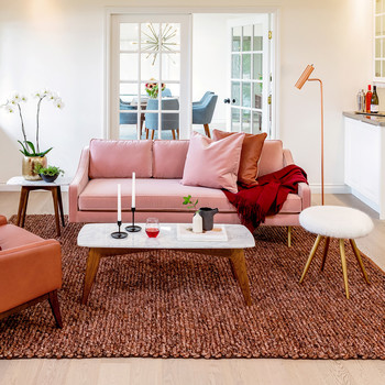 Living room with pink couch and textured rug