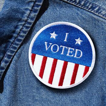 I Voted patch on denim jacket
