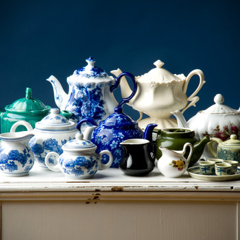collection of antique teapots