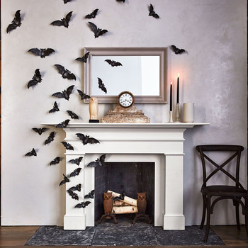 Mantle with Bats for Halloween