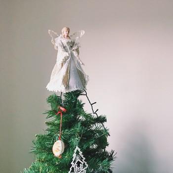 angel atop christmas tree