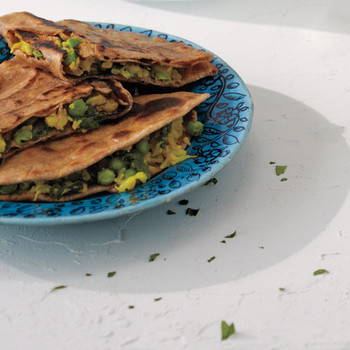 Whole-Wheat Flatbreads Stuffed with Cauliflower, Peas, and Spinach