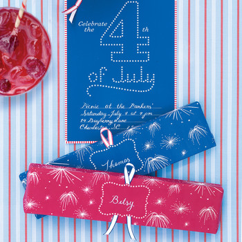 Fireworks Clip-Art Wrapping Paper for Place Cards