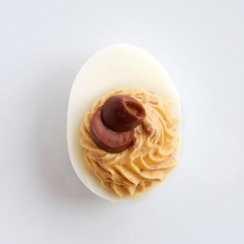 Olive-Garlic Deviled Eggs