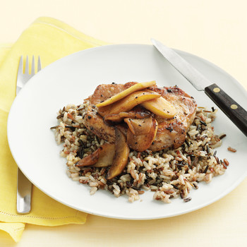 Pork Chop with Sauteed Apples and Wild Rice