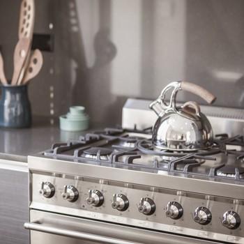 tea kettle on shiny stove