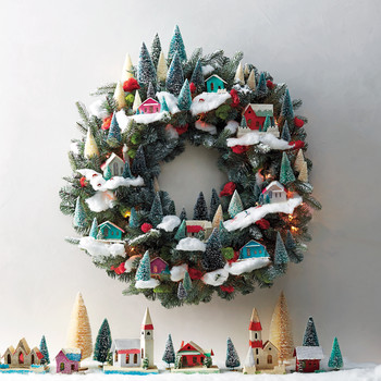 Magical Village-Themed Christmas Wreath