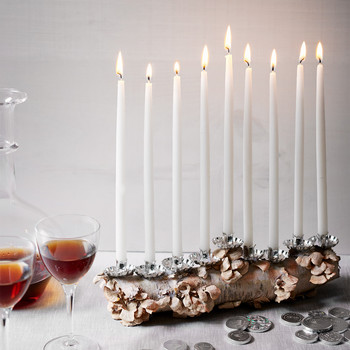 birch log menorah