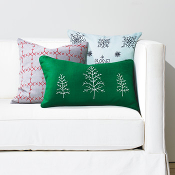 Faux Cross-Stitch Christmas Pillows