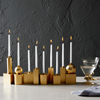 gilded wooden blocks for a Hanukkah menorah