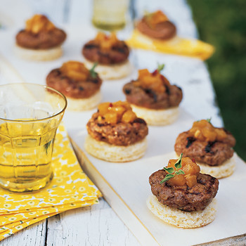 Mini Lamb Burgers with Pineapple Salsa