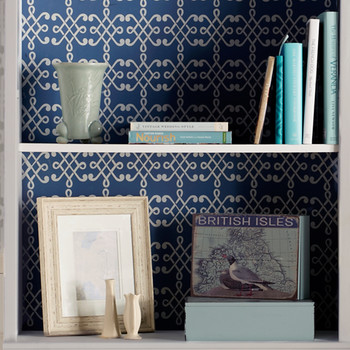 Trellis-Stenciled Bookcase Backsplash