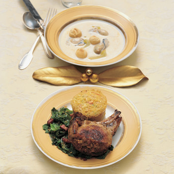 Pork Chops with Andouille-Pecan Stuffing