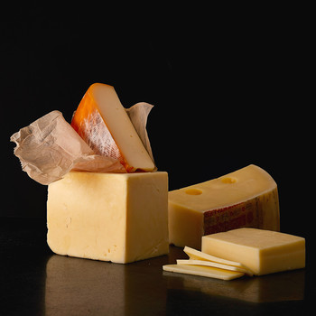 blocks and slices of semi-hard cheese
