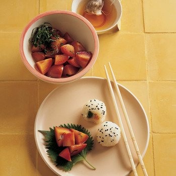 Sticky Rice Balls and Pickled Plums with Shiso