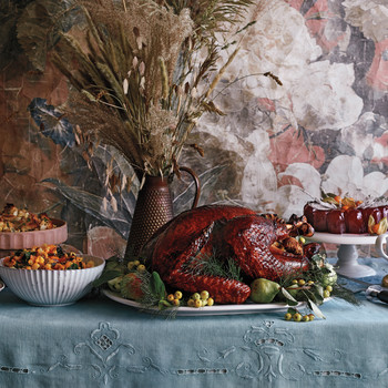 Molasses-and-Cider-Glazed Turkey with Rye-and-Black-Walnut Stuffing