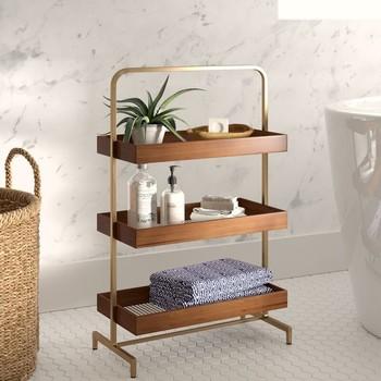 wood tiered shelf storage cart