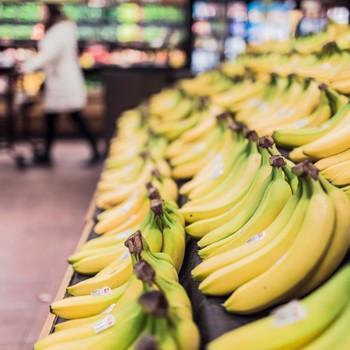 Bananas in supermarket display
