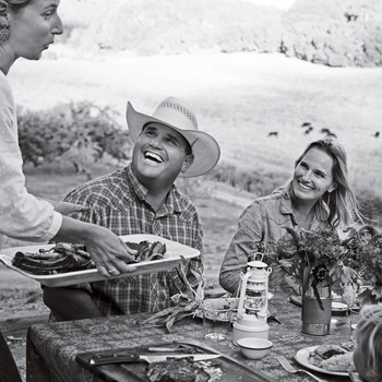 friends meal ranch life black and white picnic table