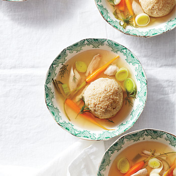 Matzo-Ball Soup with Leeks
