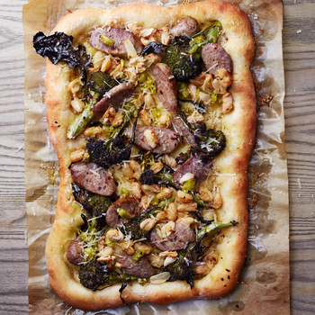 Sausage and Broccoli Pizza with Pepperoncini Sauce