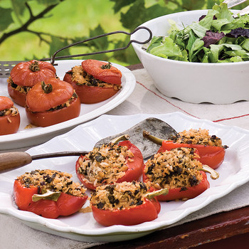 Tomatoes and Peppers stuffed with Basmati Rice and Kale