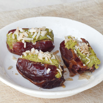Pistachio-Stuffed Dates with Coconut