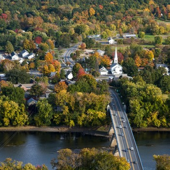 aerial view of small town in Massachusetts