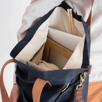 twig and horn blue canvas backpack with leather straps