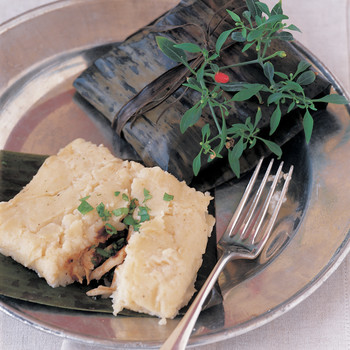 """Veracruzano """"Pudding"""" Tamales with Chicken, Chipotle, and Herbs"""