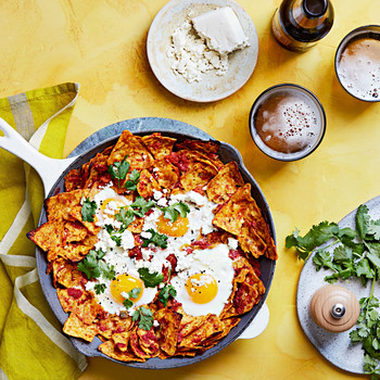 cheesy baked chilaquiles eggs chips