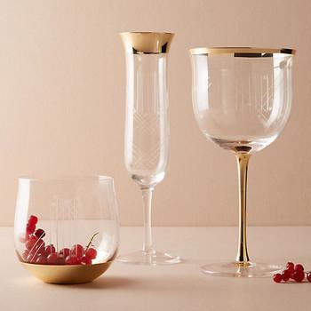 gold rimmed glassware