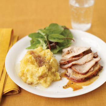 Garlic-Crusted Pork Loin with Mashed Acorn Squash