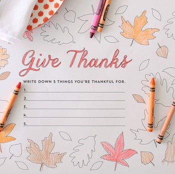"""Give Thanks"" Thanksgiving Place Mats"