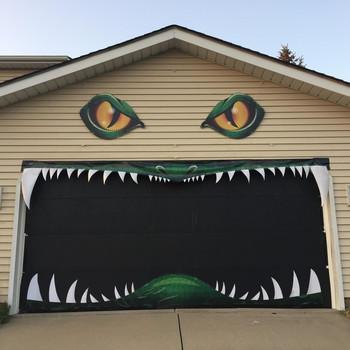 garage door decoration for Halloween