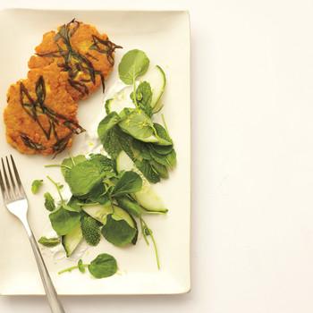Lentil Cakes with Feta-Yogurt Sauce and Cucumber-Cress Salad